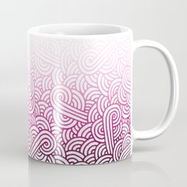 Gradient pink and white swirls doodles Coffee Mug
