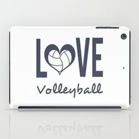 volleyball iPad Cases featuring Love Heart Volleyball (blue) by raineon