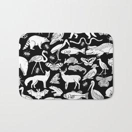 Linocut animals nature inspired printmaking black and white pattern nursery kids decor Bath Mat