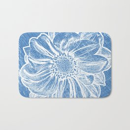 White Flower On Denim Blue Crayon Bath Mat