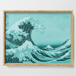Aqua Blue Japanese Great Wave off Kanagawa by Hokusai Serving Tray