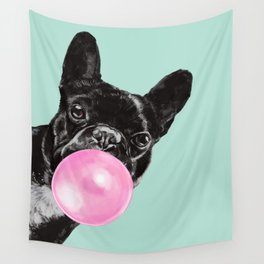 Bubble Gum Sneaky French Bulldog in Green Wall Tapestry
