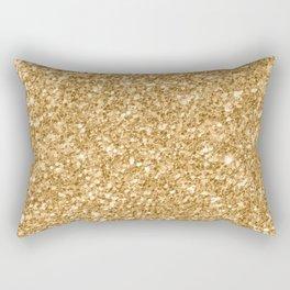 Trendy Gold Glitter Texture Print Rectangular Pillow