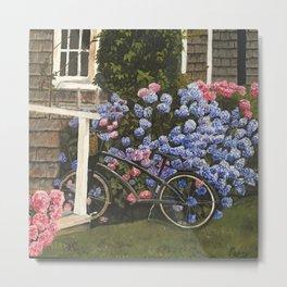 Hydrangea Bicycle Metal Print
