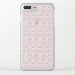 Elegant chic blush pink white scallop wave pattern Clear iPhone Case