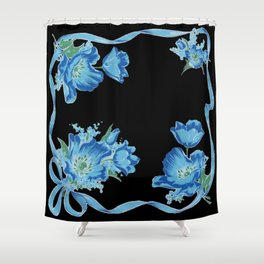 Black and Blue Vintage Ribbons and Flowers Shower Curtain