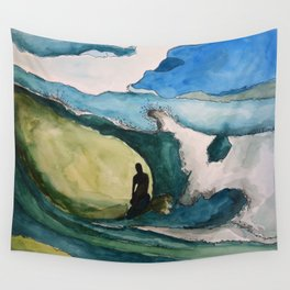Watercolor Surfer Wall Tapestry