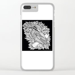 Zentangle Halcyon Black and White Illustration Clear iPhone Case