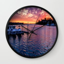 Sunset Colored Harbor Wall Clock