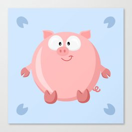 Pig from the circle series Canvas Print