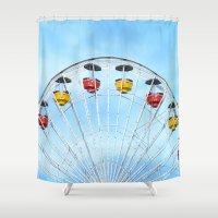 ferris wheel Shower Curtains featuring Ferris Wheel by DanielleC