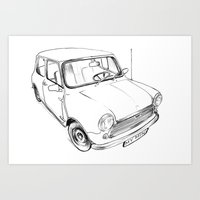 mini cooper Art Prints featuring Mini Cooper by Neko Naku