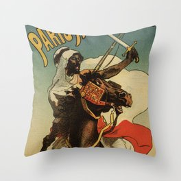1887 Paris Desert Arabian expo advertising Throw Pillow