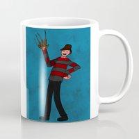 freddy krueger Mugs featuring Happy Freddy by Sonya Saturday