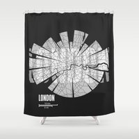 london map Shower Curtains featuring London Map by Shirt Urbanization