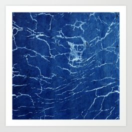 Cracks and Scratches on Midnight Blue Suede Leather Art Print