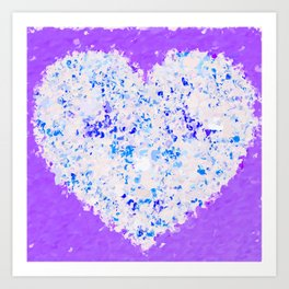 blue and white heart shape with purple background Art Print