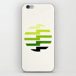 Minimalist Mid Century Circle Frame Sap Green Zig Zag Colorful Lightning Bolt Geometric Pattern iPhone Skin