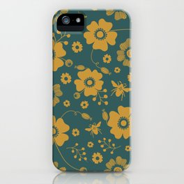 Pollinator - Teal/Gold iPhone Case