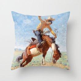 """Western Art """"Wild Bucker"""" Throw Pillow"""