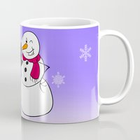 snowman Mugs featuring Snowman by Afro Pig