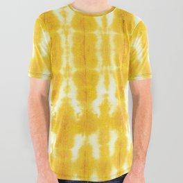 Yellow Linen Shibori Stripe All Over Graphic Tee