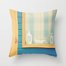 Beach Hut window- orange Throw Pillow