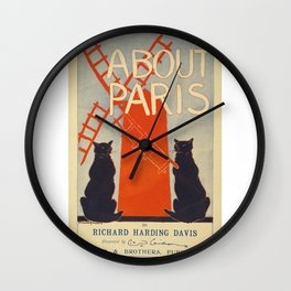 ABOUT PARIS VINTAGE POSTER Wall Clock