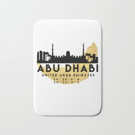 ABU DHABI UNITED ARAB EMIRATES SILHOUETTE SKYLINE MAP ART Bath Mat