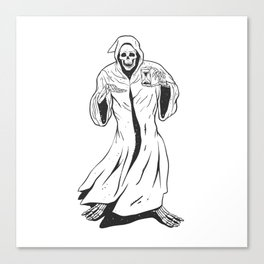 Grim reaper holding an hourglass -  black and white Canvas Print
