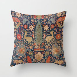 17th Century Persian Rug Print with Animals Throw Pillow