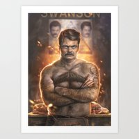 swanson Art Prints featuring Ron ****ing Swanson by Sam Spratt