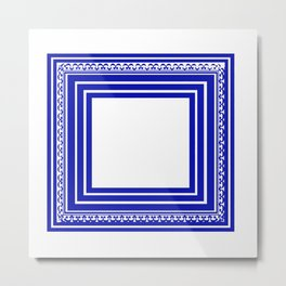 Blue and White Lines Geometric Abstract Pattern Metal Print