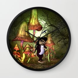 Cute little mouse alone in the night Wall Clock