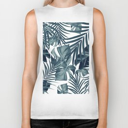 Tropical Jungle Leaves Pattern #9 #tropical #decor #art #society6 Biker Tank