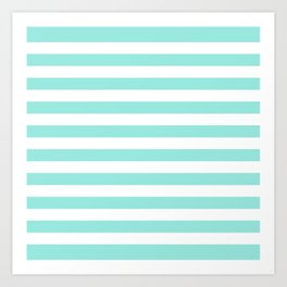 Blue Tiffany Stripes Horizontal Art Print