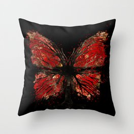 Butterfly Tree - Gold and Red Throw Pillow