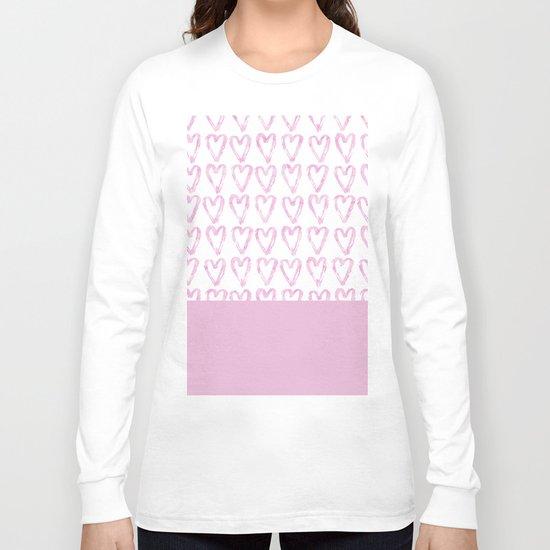 Heart Pattern Pink Long Sleeve T-shirt