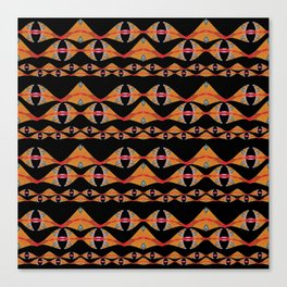 Neo Tribal Polynesian Vintage Oil Waves & Fins Canvas Print