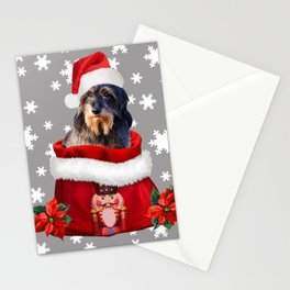 Santa Claus  wire-haired dachshund Dog Nutcracker Christmas bag Stationery Cards