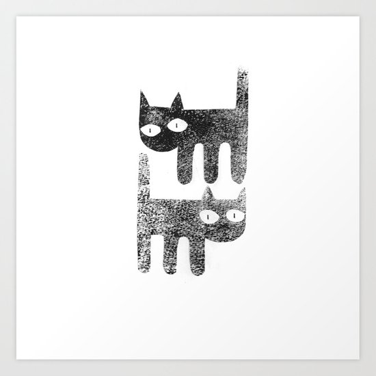 Three legged cats Art Print