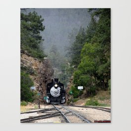 Coming through the Cut at the Rockwood Depot, of the D&SNGR Canvas Print