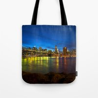 brooklyn bridge Tote Bags featuring Brooklyn Bridge by Svetlana Sewell