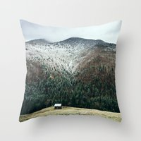 cabin Throw Pillows featuring Cabin in the woods by General Design Studio