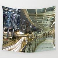 hong kong Wall Tapestries featuring Hong Kong-Night View by Parrish