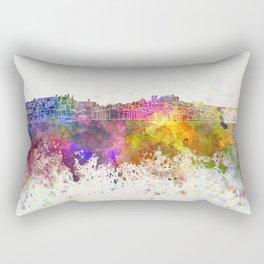 Porto skyline in watercolor background Rectangular Pillow
