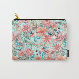 Tropical Jungle Flowers And Birds In Soft Pastels Carry-All Pouch