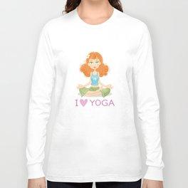 Cute Yoga Girl Sitting in Lotus Pose Long Sleeve T-shirt