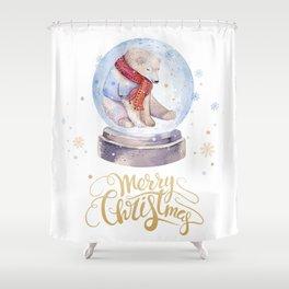 Christmas bear #1 Shower Curtain