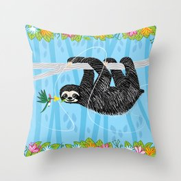 The Sloth and The Hummingbird Throw Pillow